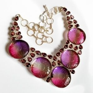 Pink purple amethyst statement necklace silver new